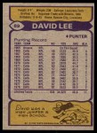 1979 Topps #89  David Lee  Back Thumbnail
