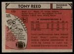 1980 Topps #173  Tony Reed  Back Thumbnail