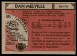 1980 Topps #11  Dan Melville  Back Thumbnail