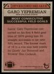 1980 Topps #6   -  Garo Yepremian Record Breaker Back Thumbnail