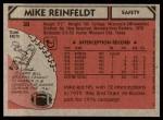 1980 Topps #30  Mike Reinfeldt  Back Thumbnail