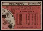 1980 Topps #422  Mike Phipps  Back Thumbnail