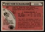 1980 Topps #421  Uwe Von Schamann  Back Thumbnail