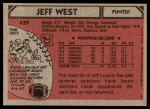 1980 Topps #439  Jeff West  Back Thumbnail