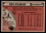 1980 Topps #65  Ken Stabler  Back Thumbnail