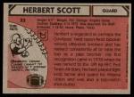 1980 Topps #33  Herb Scott  Back Thumbnail