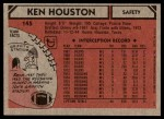1980 Topps #145  Ken Houston  Back Thumbnail