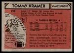 1980 Topps #138  Tommy Kramer  Back Thumbnail