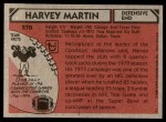 1980 Topps #270  Harvey Martin  Back Thumbnail
