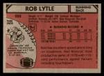1980 Topps #252  Rob Lytle  Back Thumbnail