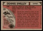 1980 Topps #278  Dennis Swilley  Back Thumbnail