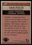 1980 Topps #3   -  Dan Fouts Record Breaker Back Thumbnail
