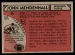 1980 Topps #156  John Mendenhall  Back Thumbnail