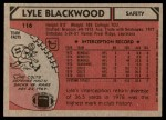 1980 Topps #116  Lyle Blackwood  Back Thumbnail
