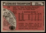 1980 Topps #172  Leonard Thompson  Back Thumbnail