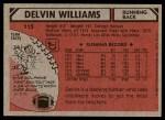 1980 Topps #115  Delvin Williams  Back Thumbnail