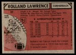 1980 Topps #37  Rolland Lawrence  Back Thumbnail