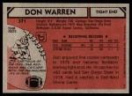 1980 Topps #371  Don Warren  Back Thumbnail