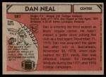 1980 Topps #287  Dan Neal  Back Thumbnail