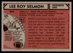1980 Topps #260  Lee Roy Selmon  Back Thumbnail