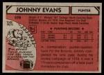 1980 Topps #279  Johnny Evans  Back Thumbnail