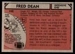 1980 Topps #392  Fred Dean  Back Thumbnail
