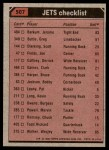 1980 Topps #507   Jets Leaders Checklist Back Thumbnail
