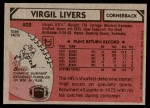 1980 Topps #402  Virgil Livers  Back Thumbnail