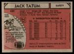 1980 Topps #429  Jack Tatum  Back Thumbnail