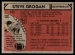 1980 Topps #435  Steve Grogan  Back Thumbnail