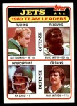 1981 Topps #132   Jets Leaders Checklist Front Thumbnail
