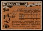 1981 Topps #146  Vernon Perry  Back Thumbnail