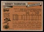 1981 Topps #61  Sidney Thornton  Back Thumbnail