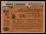 1981 Topps #156  Mike Dennis  Back Thumbnail
