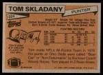 1981 Topps #324  Tom Skladany  Back Thumbnail