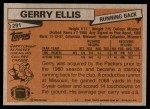 1981 Topps #291  Gerry Ellis  Back Thumbnail