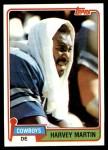 1981 Topps #15  Harvey Martin  Front Thumbnail