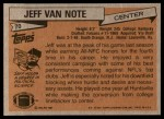 1981 Topps #70  Jeff Van Note  Back Thumbnail