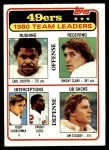 1981 Topps #319   49ers Leaders Checklist Front Thumbnail