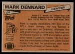 1981 Topps #209  Mark Dennard  Back Thumbnail
