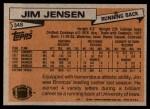 1981 Topps #348  Jim Jensen  Back Thumbnail