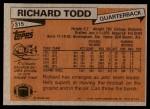 1981 Topps #315  Richard Todd  Back Thumbnail