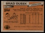 1981 Topps #499  Brad Dusek  Back Thumbnail