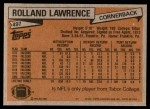 1981 Topps #497  Rolland Lawrence  Back Thumbnail