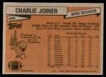 1981 Topps #496  Charlie Joiner  Back Thumbnail