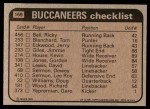 1981 Topps #169   Buccaneers Leaders Checklist Back Thumbnail