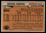 1981 Topps #38  Archie Griffin  Back Thumbnail