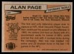 1981 Topps #160  Alan Page  Back Thumbnail