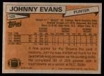 1981 Topps #129  Johnny Evans  Back Thumbnail
