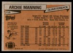 1981 Topps #158  Archie Manning  Back Thumbnail